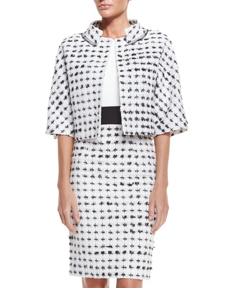 Carolina Herrera Short-Sleeve Cropped Tweed Jacket, Black/White