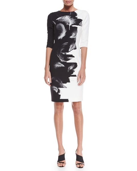 Carolina Herrera Two-Tone Techno Sheath Dress, Black/White