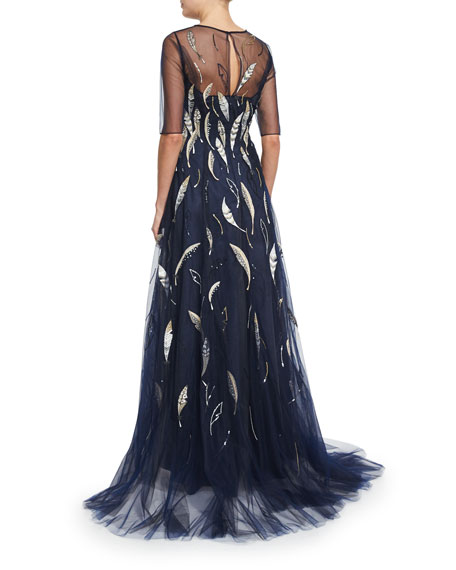 Sleeveless Embroidered Mermaid Gown, Navy