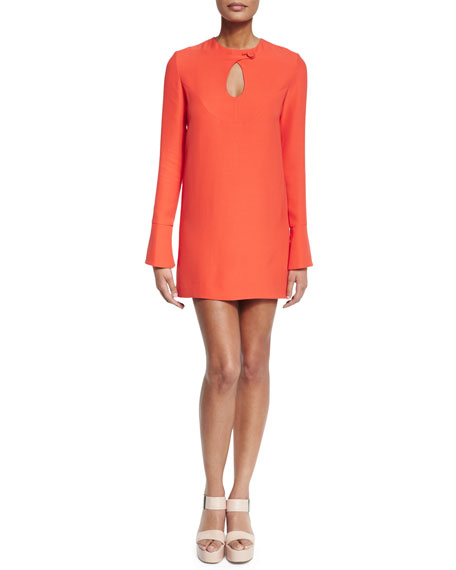Derek Lam Long-Sleeve Cady Mini Dress, Safety Orange