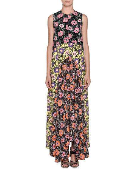 Marni Colorblock Floral-Print Patio Dress, Black