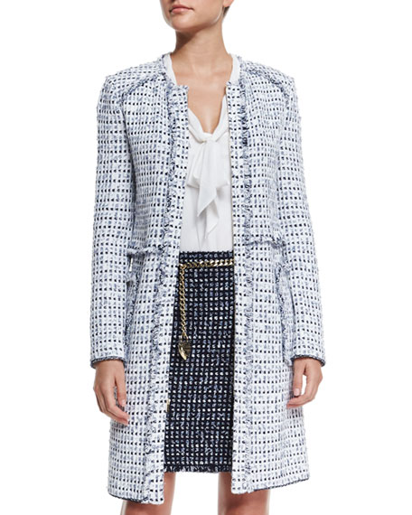 St. John Collection Monte Solaro Jewel-Neck Topper Coat,