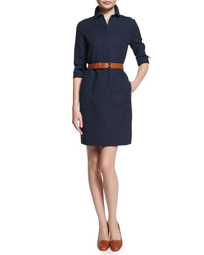 Peggie 3/4-Sleeve Belted Shirtdress, Blue Shadows