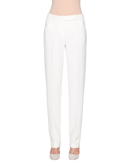 Giorgio Armani Mid-Rise Narrow-Leg Trousers, Powder