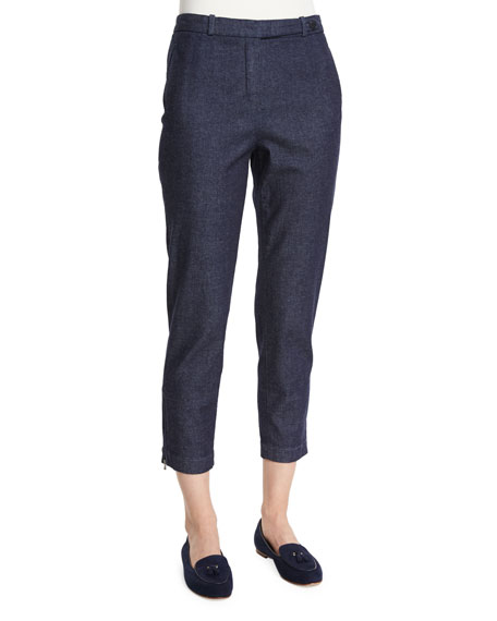 Loro Piana Davis Cropped Denim Pants, Ombre Blue