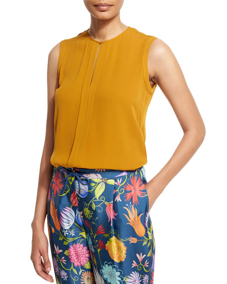 Loro Piana Sara Sleeveless Blouse, Honey Gold