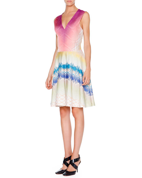 Missoni Stereo-Striped Fit-&-Flare Dress, Pink/Beige Multi
