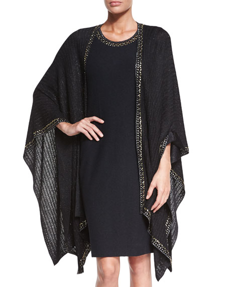 St. John Collection Sheer Sparkle Knit Sequin Cardigan