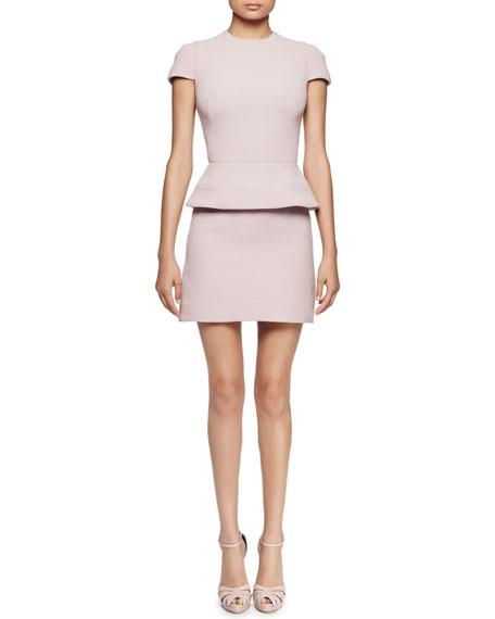 Cap-Sleeve Peplum-Waist Dress, Patchouli