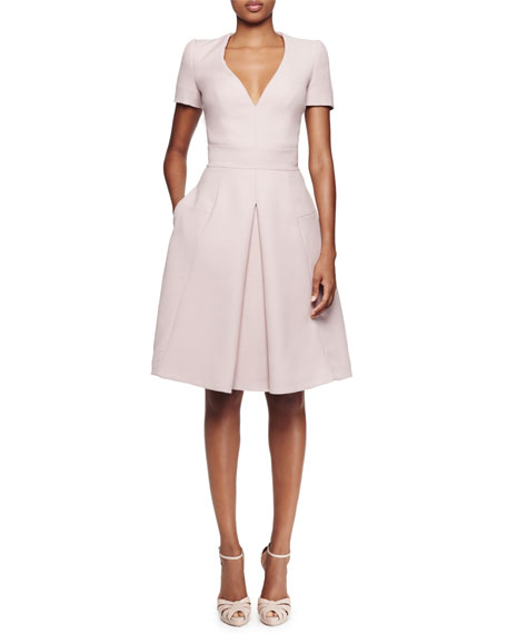 Alexander McQueen Short-Sleeve V-Neck Pleated Dress, Patchouli
