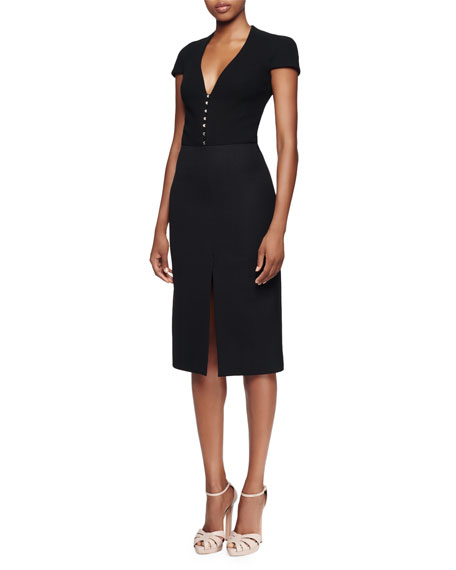 Alexander McQueen Cap-Sleeve Deep-V-Neck Dress, Black
