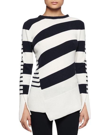 Alexander McQueen Multi-Stripe Asymmetric-Hem Sweater, Ivory/Navy