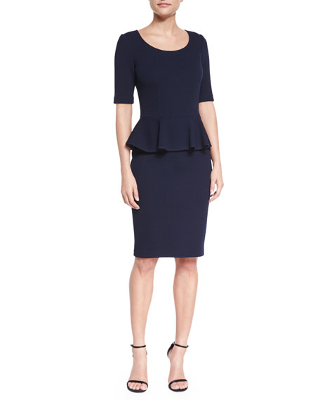 Milano Pique Knit Peplum Dress, Navy