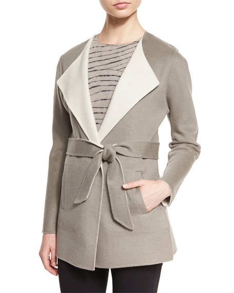 Armani Collezioni Belted Reversible Coat, Light Brown