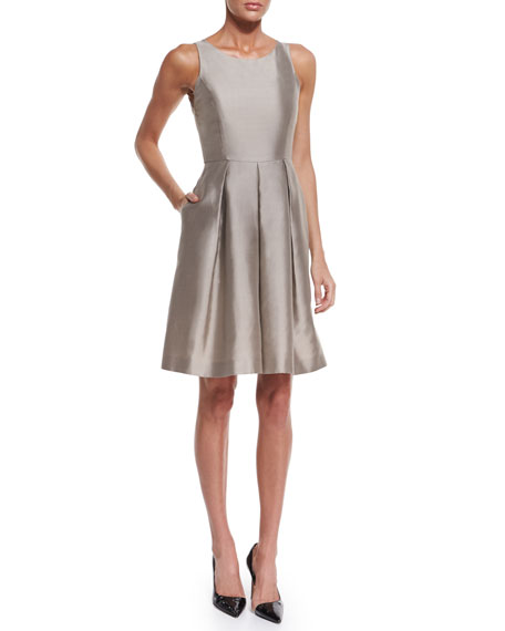 Armani CollezioniSleeveless Fit-&-Flare Dress, Tan