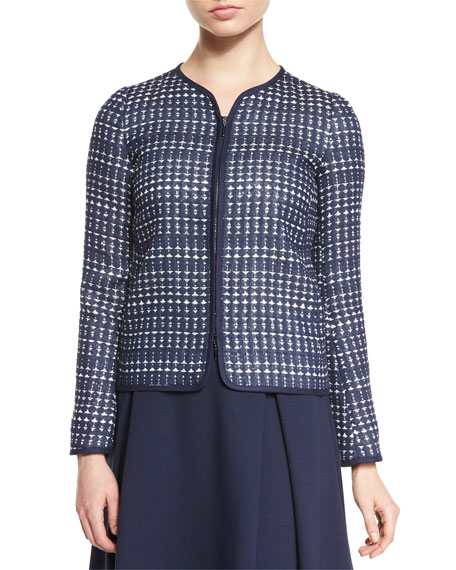 Armani Collezioni Embroidered Long-Sleeve Jacket, Navy