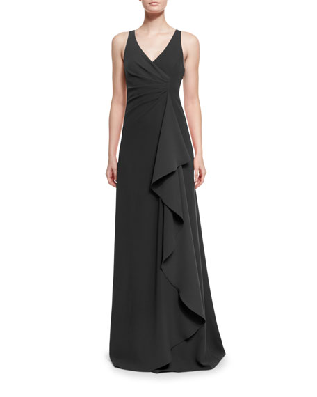 Armani Collezioni Techno Cady Side-Ruffle Gown, Black