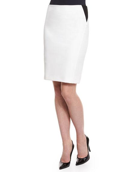 Armani Collezioni Two-Tone Pencil Skirt, White