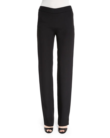 Silk-Blend Side-Zip Trouser Pants, Black