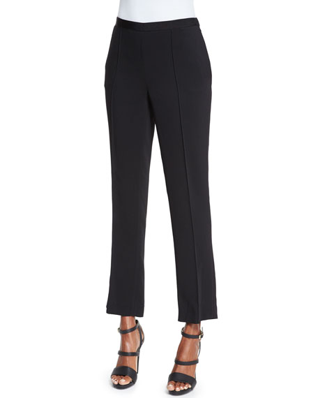 Etro Straight-Leg Cropped Pants, Black