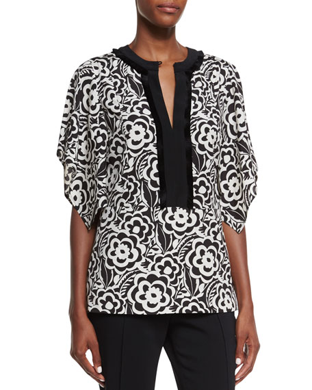 Etro Split-Neck Kimono-Sleeve Blouse, Black/White