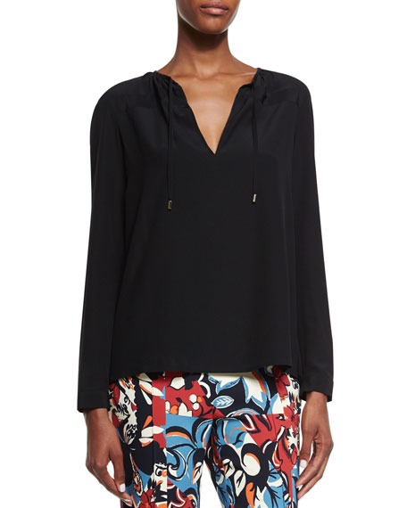 Etro Long-Sleeve Split-Neck Blouse, Black