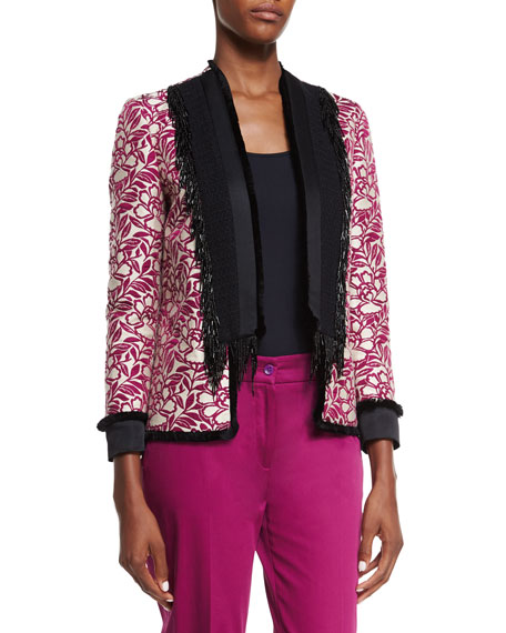 Etro Embroidered Beaded-Fringe Jacket, White/Magenta