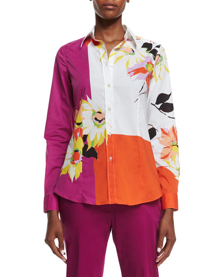 Etro Colorblock Blossom-Print Shirt, Magenta/Orange