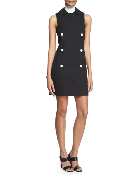 Michael Kors Sleeveless Double-Breasted Shirtdress, Black
