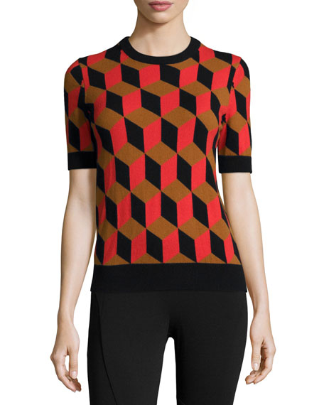 Michael Kors Collection Short-Sleeve Deco-Cube Cashmere Sweater,