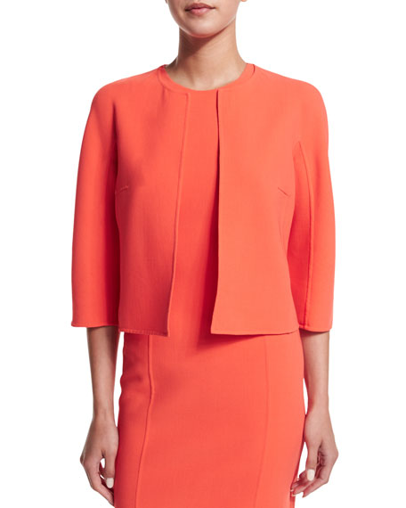 Michael Kors Collection 3/4-Sleeve Open-Front Jacket, Persimmon
