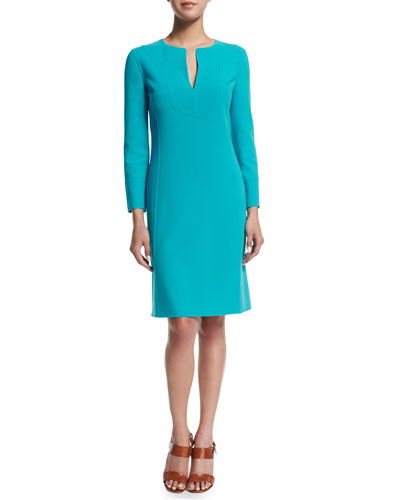 Michael Kors Collection Long-Sleeve Split-Neck Tunic Dress, Aqua