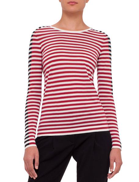 Akris punto Striped Colorblock Sweater, Cream/Cherry