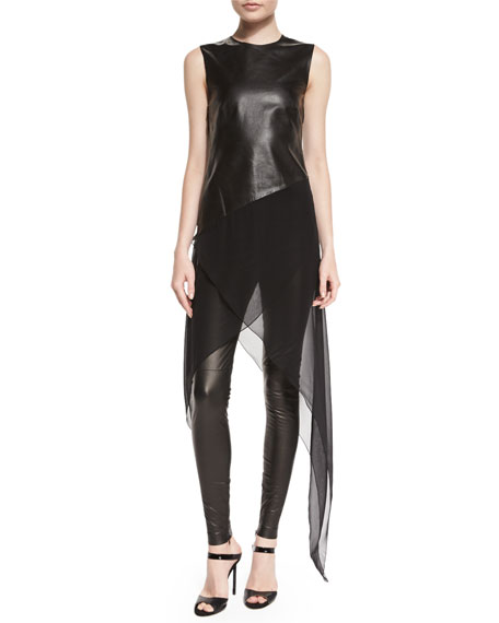 Ralph Lauren Collection Eleanora Leather Leggings, Black