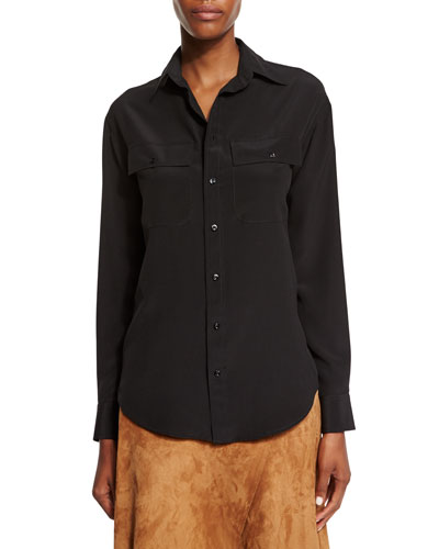 Ralph Lauren Long-Sleeve Button-Front Shirt, Black