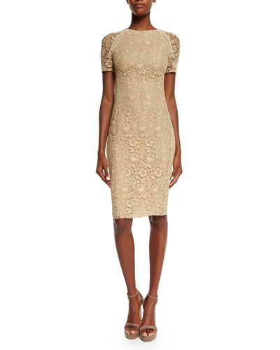 Short-Sleeve Floral-Guipure Lace Dress, Palomino