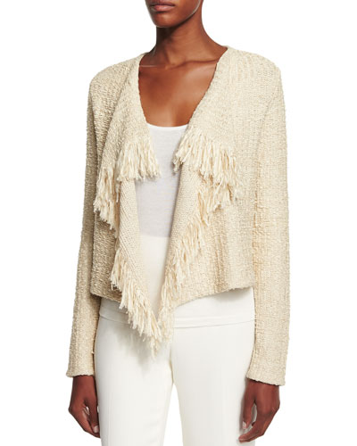 Long-Sleeve Draped-Front Cardigan, Sand