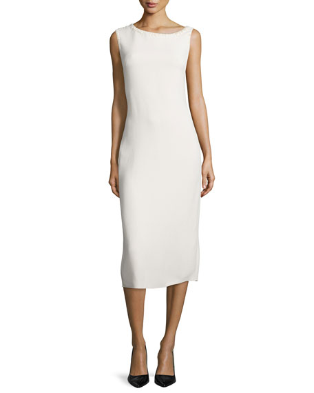 Nina Ricci Sleeveless Asymmetric-Neck Bias-Cut Dress, Cream