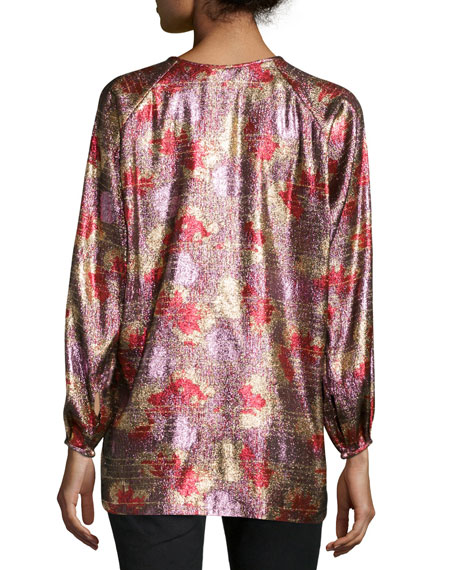 Isabel Marant Fireworks Metallic Tunic Blouse, Antique Pink