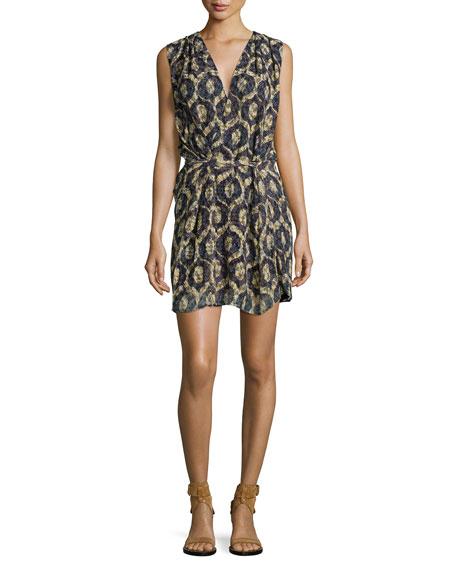 Isabel Marant Sleeveless Laser-Cut Wrap Dress, Yellow