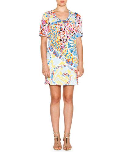 Short-Sleeve Mosaic-Print Sheath Dress, Celeste/Multi