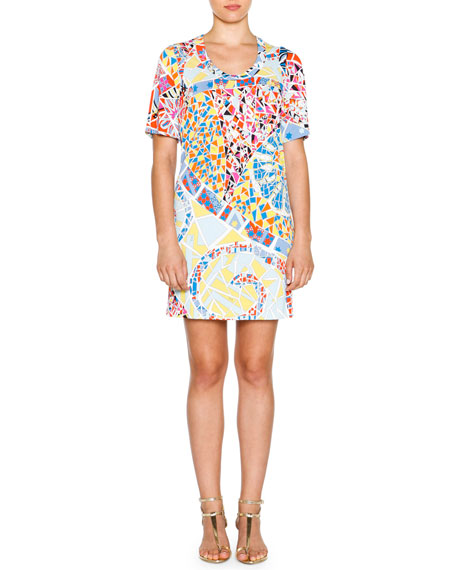 Emilio Pucci Short-Sleeve Mosaic-Print Sheath Dress, Celeste/Multi
