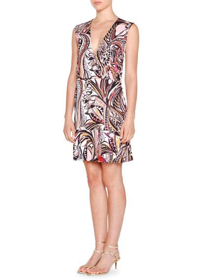 Emilio Pucci Sleeveless Faux-Wrap Printed Dress, Beige
