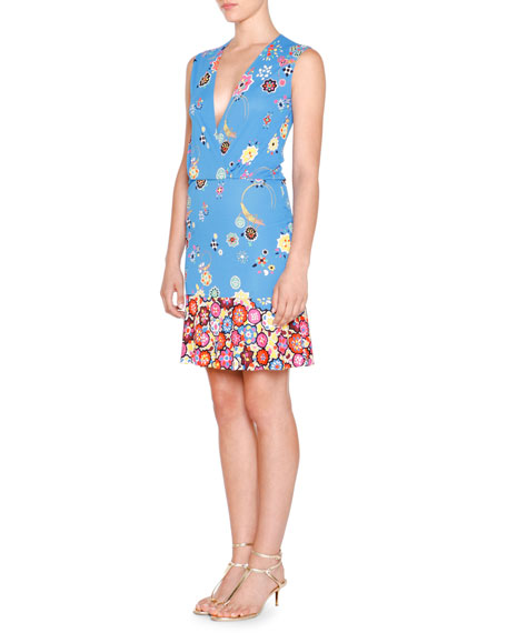 Emilio Pucci Sleeveless Surplice-Neck Floral-Print Dress, Blu Nilo