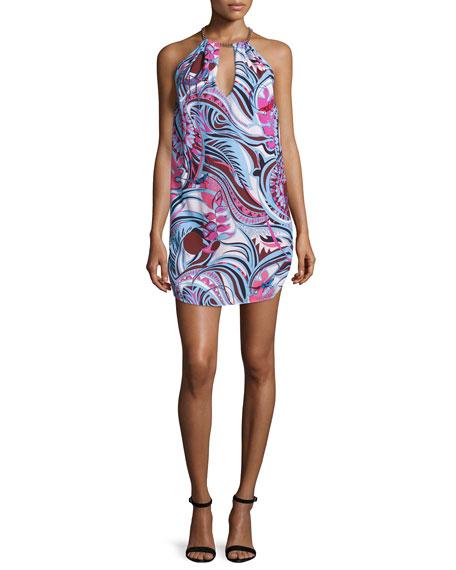 Emilio Pucci Sleeveless Halter-Neck Printed Dress, Fuchsia/Celeste