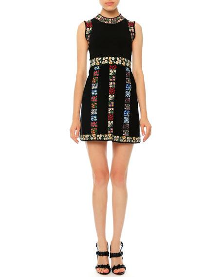 Valentino Sleeveless Garden-Stripe Mini Dress, Black Multi