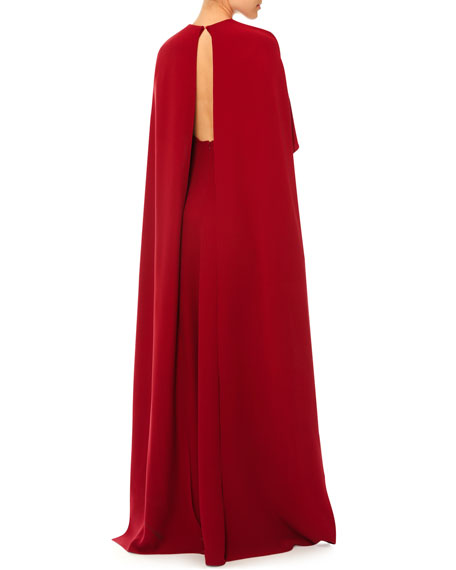 Jewel-Neck Half-Sleeve Capelet Gown, Red