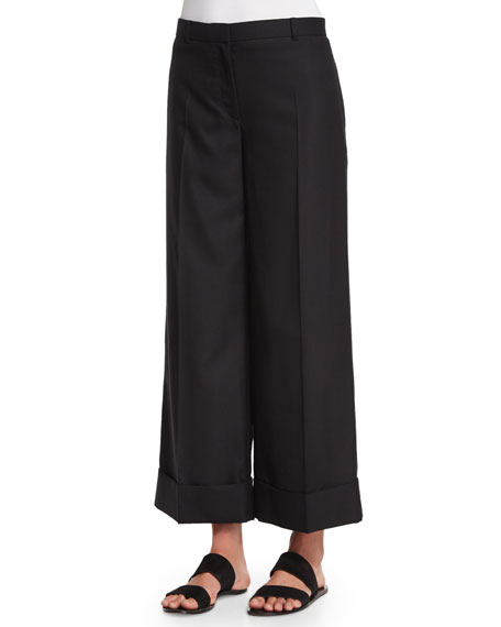 Textured Wide-Leg Cuffed Pants, Black