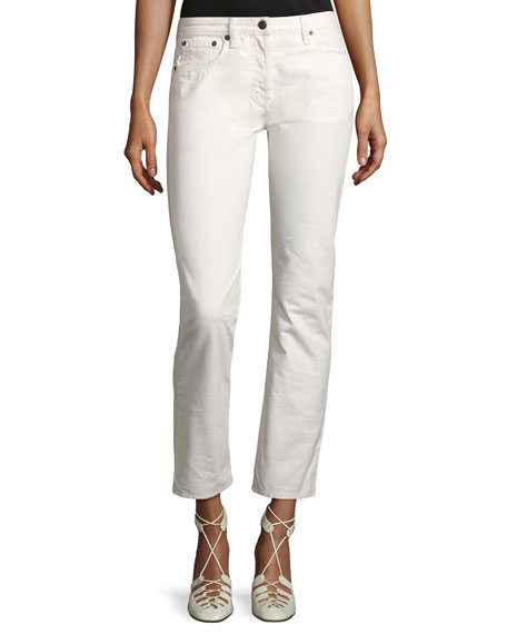 THE ROW Ashland Slim-Leg Ankle Jeans, White