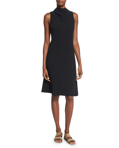THE ROW Darla Sleeveless Tie-Neck A-Line Dress, Black